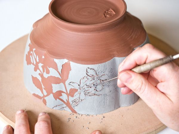 Anna and Kevin Ramsay share their sgraffito technique and their unique way of creating stencils with a jewelry saw.