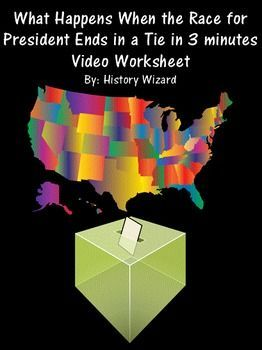 This video worksheet allows students learn about what would happen if the Electoral College ended in a tie. The video clip is only 3 minutes long, but it is packed full of information that will keep your students engaged.This video worksheet works great as a Do Now Activity or as a complement to any lecture or lesson plan on the Constitution, voting, or government.