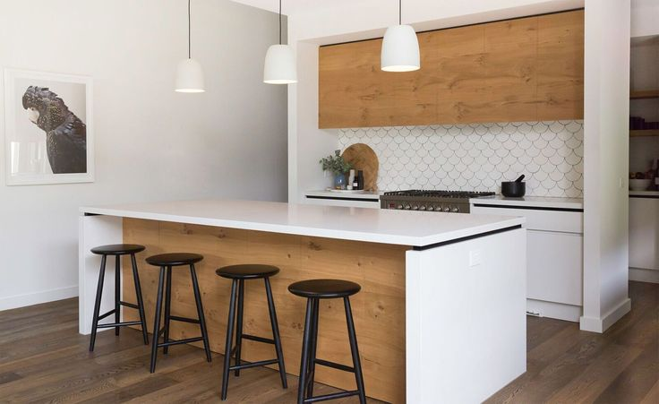 Bentleigh East – Bask Interiors. Love this kitchen with the scallop shaped tile backsplash. White, wood and black done so beautifully.