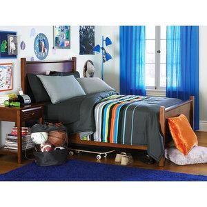 twin boy teen gray blue orange reversible striped. Black Bedroom Furniture Sets. Home Design Ideas