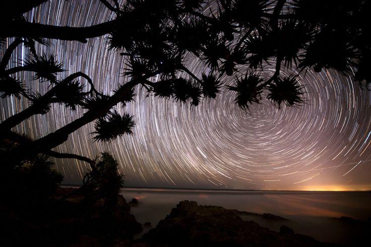 Star trail off the Main Beach Headland, Straddie - Stradbroke Island Photography