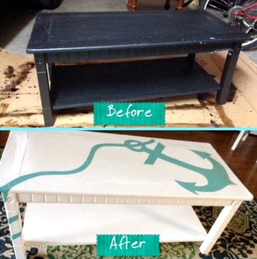 Nautical Anchor Coffee Table | Shop or DIY: http://www.completely-coastal.com/2016/03/nautical-anchor-coffee-table.html Easy Nautical Coffee Table Makeover with Stencil!