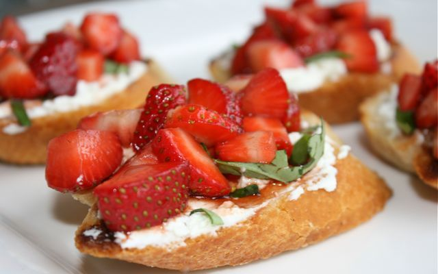 Balsamic Strawberry and Goats Cheese Bruschetta. This pretty little appetizer would accompany an antipasto spread wonderfully. Or do as I did and serve simply as a tasty afternoon treat with a glass of Central Otago Pinot Noir.