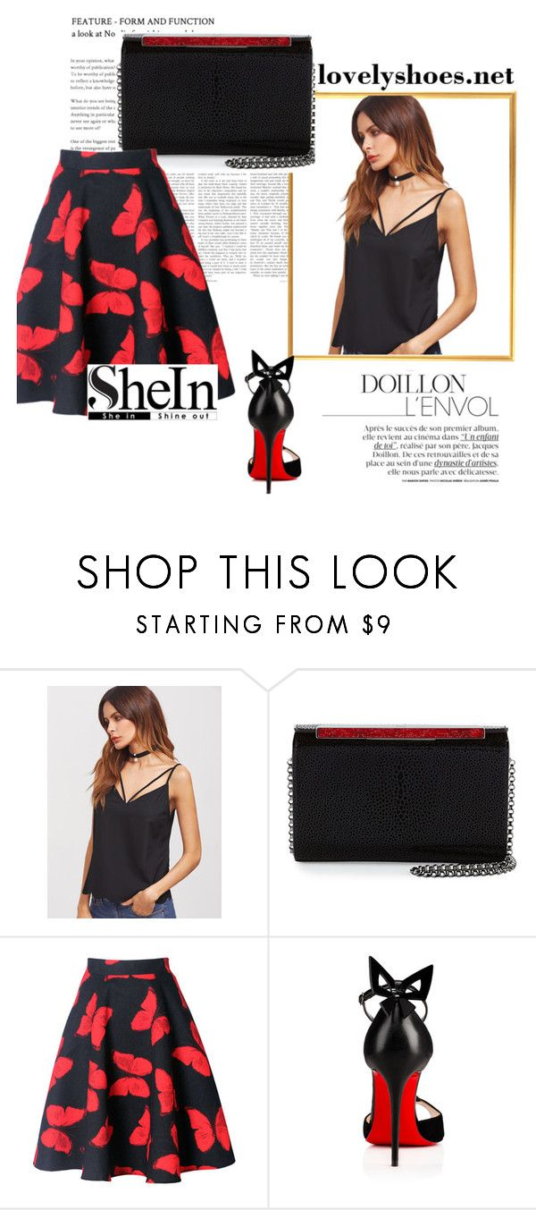 """BLACK CAMI TOP"" by sanela1209 ❤ liked on Polyvore featuring Christian Louboutin and WithChic"