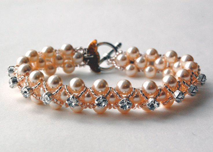 Beginner's Right Angle Weave. Embellish a beautiful Swarovski Glass Pearl base with a combination of Swarovski Montees and Miyuki Seed Beads. Call us on 0151 345 6790 to book.