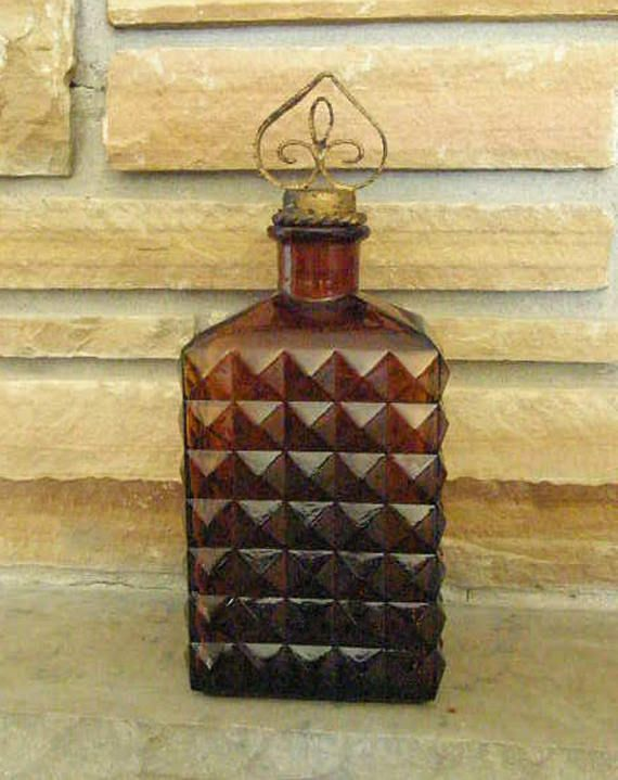 Mid Century 1970's Vintage Brown Glass Decanter  Fathers