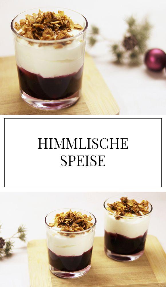 Das perfekte Rezept für ein leckeres, einfaches und schnelles Dessert im Glas : Himmlische Speise! Schmeckt auch lecker mit Himbeeren, Erdbeeren oder Kirschen. Die Mandeln runden das ganze perfekt ab!
