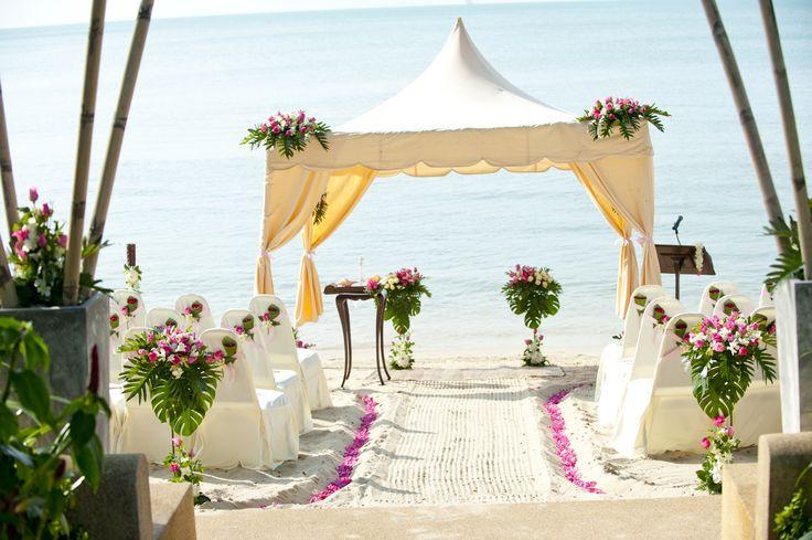 Pink and white gazebo beach wedding Weddings in Thailand