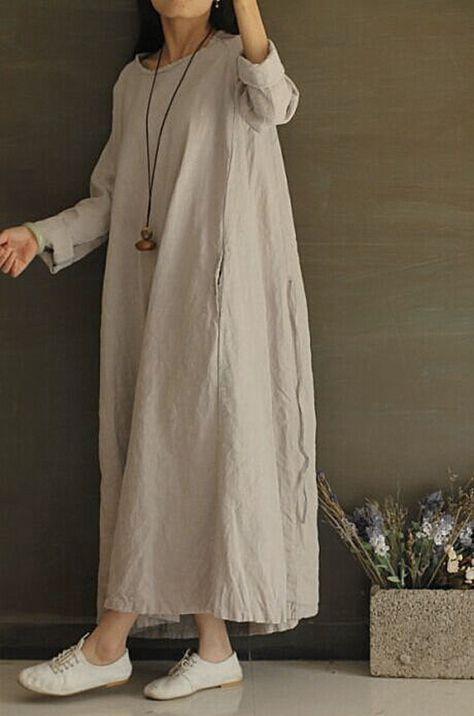Light grey Linen cotton flax long sleeve loose dress, maxi large, autumn winter spring women casual clothing, retro vintage comfortable  D01