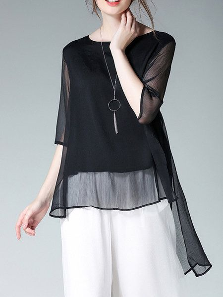 089c5f008a431c Buy Blouses For Women from At.   at Stylewe. Online Shopping Elegant  Asymmetric High Low Blouse