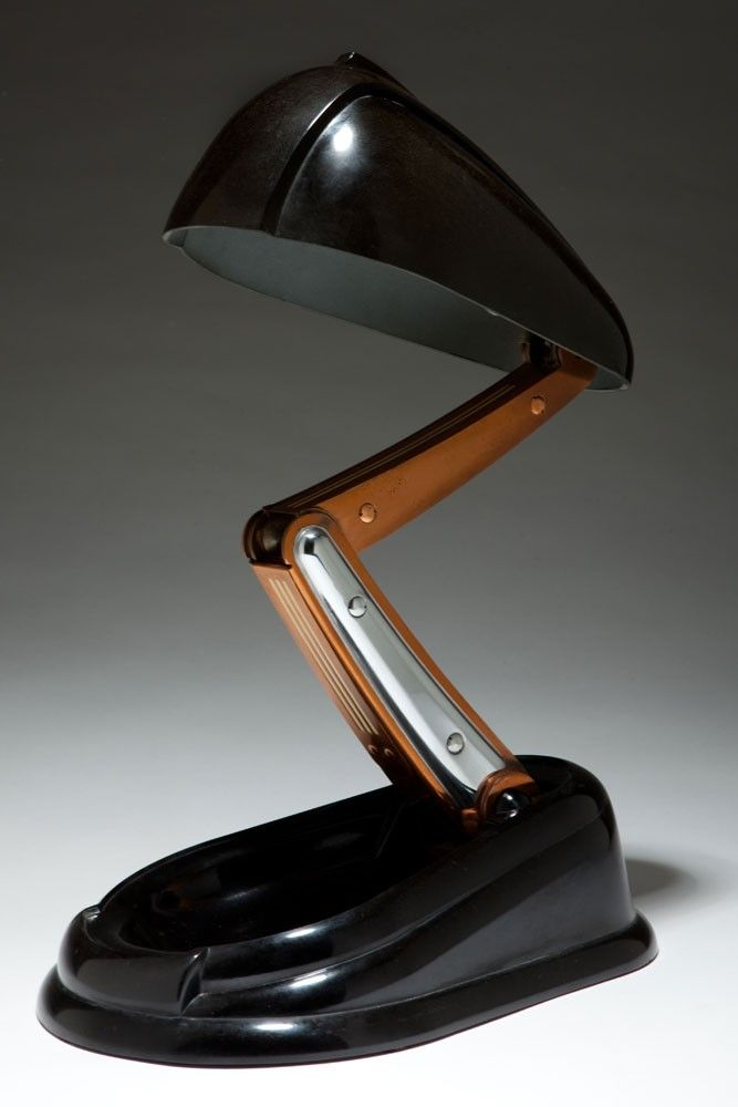 "French Art Deco JUMO ""Bolide"" Black Bakelite Table Lamp"