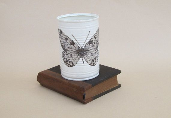 Botanische vlinder vulpotloden houder, vlinder Bureau accessoires, borstels cup, houder van gebruiksvoorwerpen, gerecycleerd blikje voor Bureau, badkamer
