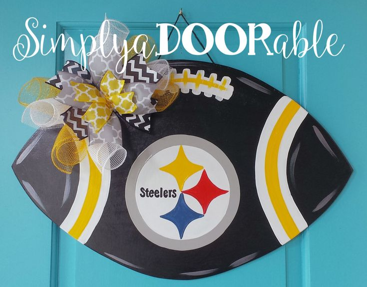 This Pittsburgh Steelers Football is Simply aDOORable. Perfect for football season, tailgate parties & Steelers fans everywhere! by SimplyaDOORableNC on Etsy
