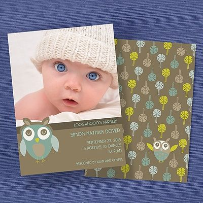 Owl Photo Birth Announcement. Visit us at altrisinc.carlsoncraft.com or call ALTRIS at 724-259-8338 to get started!