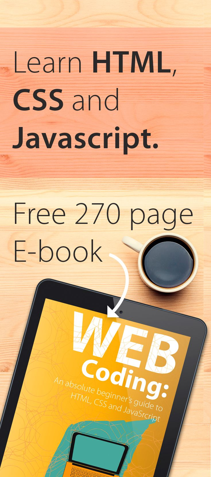 Learn HTML CSS and JavaScript. Learn Web Development. Create web pages.