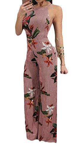57677970c6 ouxiuli Women s Chemises Sexy Sleeveless Floral Side Zip Loose Fit Jumpsuit