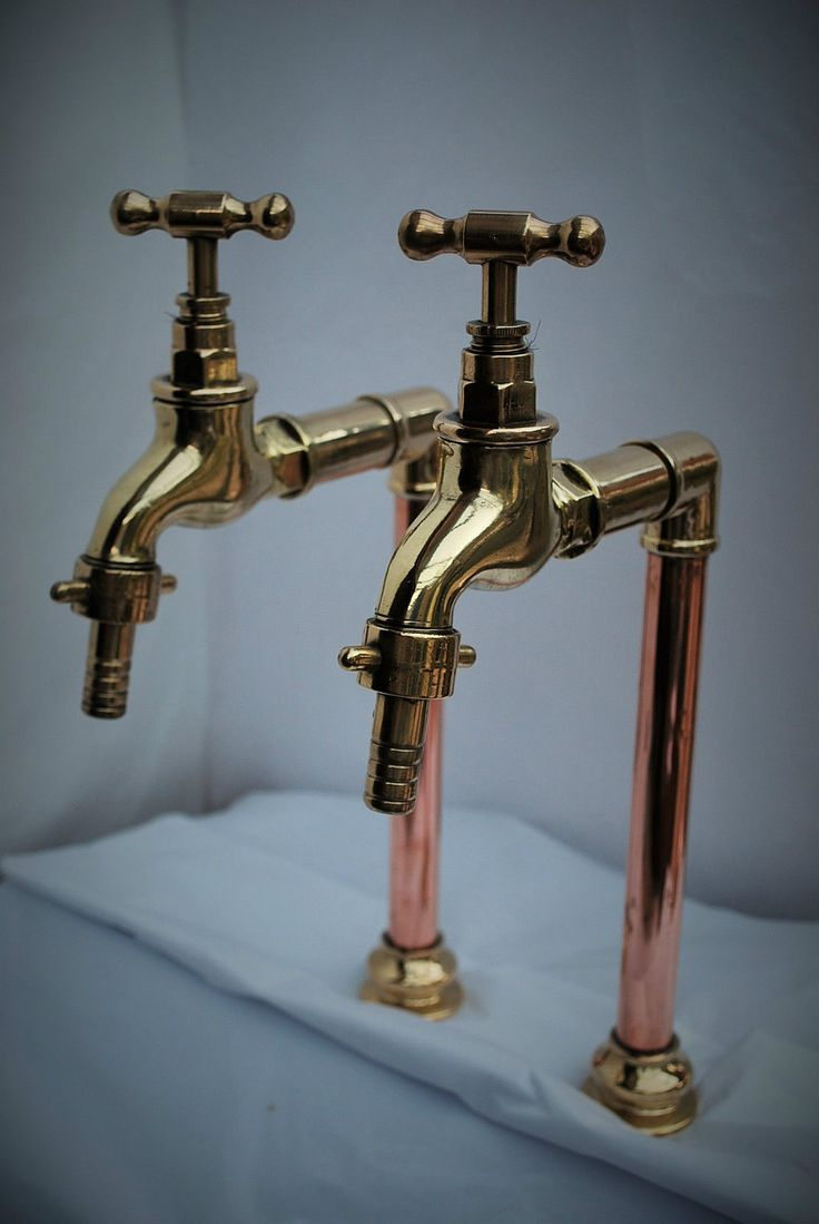 Brass  copper belfast kitchen sink tall bib taps old