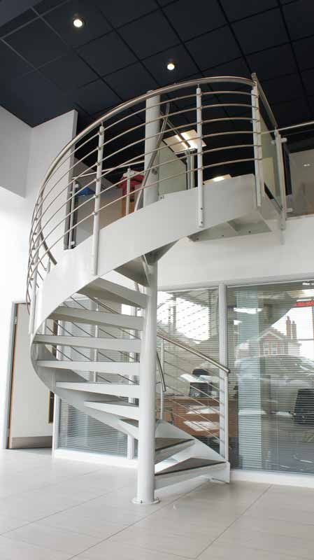 This is a commercial spiral staircase