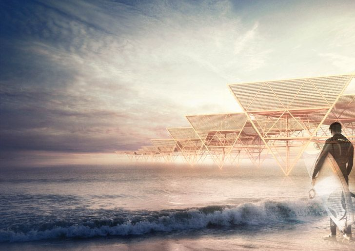 Proposed bamboo sea village for surfers.