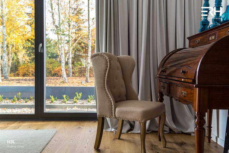 House H3L in Kłodawa, Poland #architecture #design #modernarchitecture #dreamhome #home #house #modernhome #modernhouse #moderndesign #homedesign #homesweethome #scandinavian #scandinaviandesign #lifestyle #bedroom #armchair #stylish #bigwindows #interior #interiors #homeinterior #pastel #dressingtale #navyblue #turquoise #woods #comfortzone #cozy #white #decor #openspace #autumnt #nature #view #ecoreadyhouse #erh