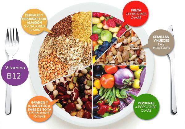 El plato de nutrición vegana – Pirámide Alimenticia. Dieta vegana, Nutrición vegana, nutrición basada en plantas, alimentación y veganismo - Todo lo que debes saber para adoptar una dieta vegetal, vegana o 100% vegetariana. Frutas, verduras, hortalizas, legumbres, cereales, frutos secos, proteínas, vitaminas...