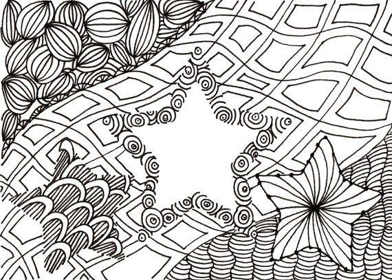 Printable DIY Zentangle Stars-2 card 5x7 pdf from Kauai Hawaii Mele Kalikimaka Christmas doodle black white zentangle inspired art