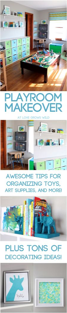 Kid's Playroom Makeover with TONS of organizing ideas & DIY decor projects! If you have kids, you NEED to pin this!