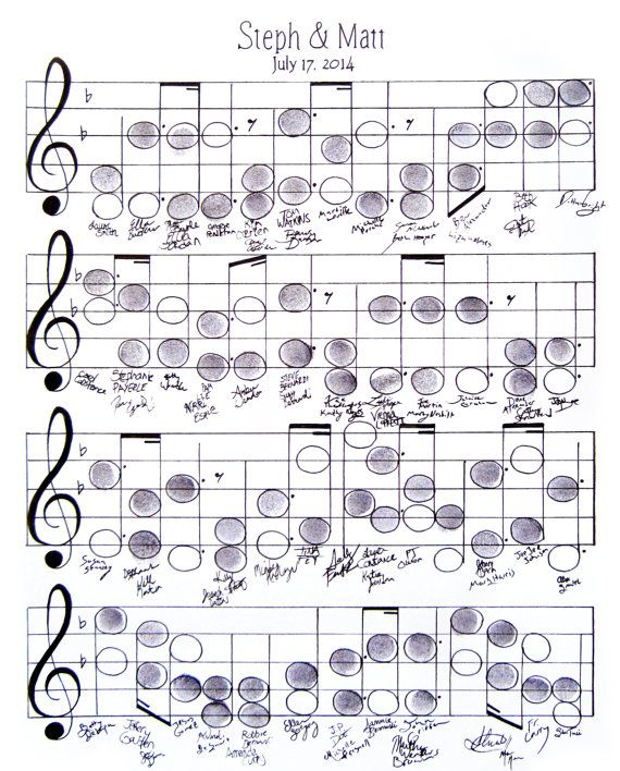 Wedding Guestbook Alternative for the Music Loving Couple! Your guests can thumbprint and sign their own music note. Create a personal musical composition you can hang on your wall.