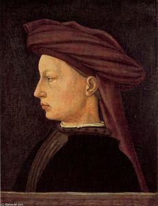"""`profile` portrait d'un jeunes homme"", huile de Masaccio (Ser Giovanni, Mone Cassai) (1401-1428, Italy)"