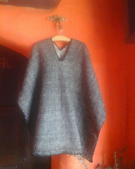 Hand Woven Ruana / 100% Pure Wool/Reversible Poncho by CasaLunaCo