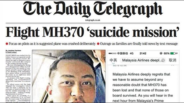Aircraft Charter: MH370 crashed in suicide mission