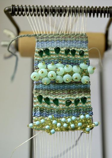 heather-beads: textured tale -  a mixture of traditional textile and bead weaving done on a bead loom.