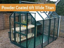 "6ft3"" wide in multiple lengths. Premium greenhouse. Painted version of the 6ft wide Titan. Generous double door opening, low threshold access, a 10 blade louvre, canopy seals and cantilevers on every bar."
