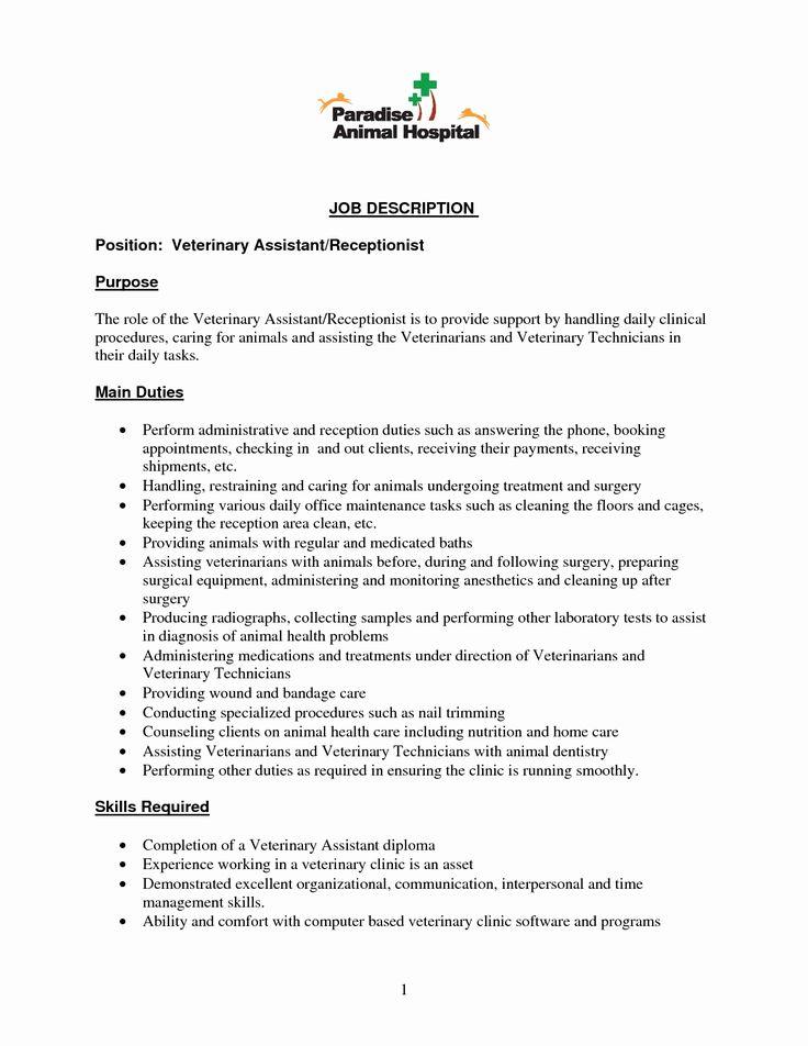 23 vet assistant resume example in 2020 receptionist