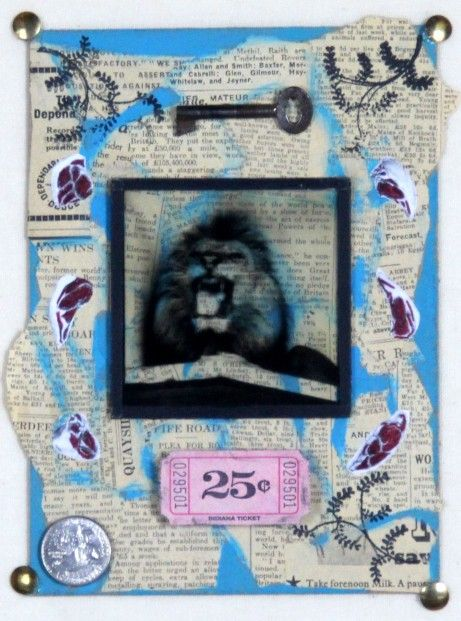 Ruby Rae_Into the Lions Den_Mixed Media & Assemblage_10x8.5 | Scottish Contemporary Art