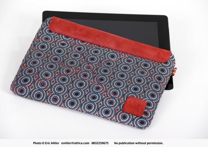Ipad cover, traditional isiShweShwe fabric - Libi Bags