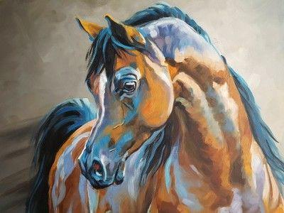Obraz olejny Konie -Wyśniony II Sochaczewska 90x90