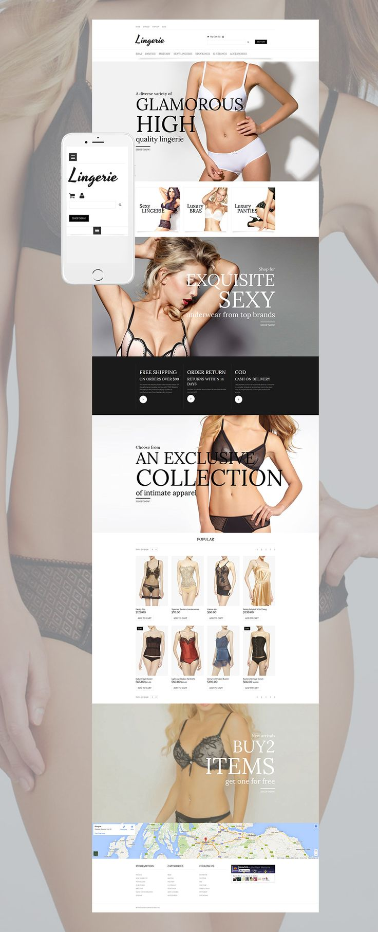 #Lingerie website design to start own business #online. All tools that may be useful are included into the website editor. Payment options, product catalog, statistics, etc. #estore #clothes