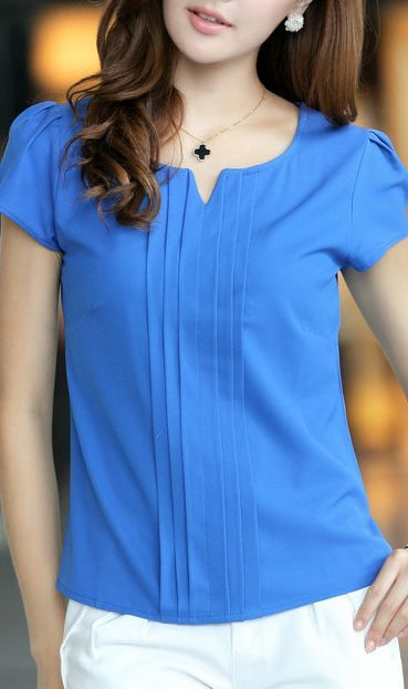 Sapphire blue chiffon blouse 5028 Blue
