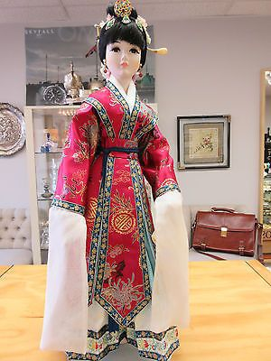 """ONE OF A Kind Dorcey Creations Shiao Yen Porcelain Chinese Doll 24"""" Tall w/Stand"""
