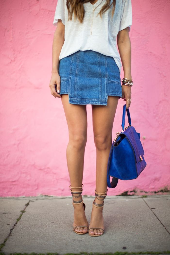Denim skirt and blue Celine
