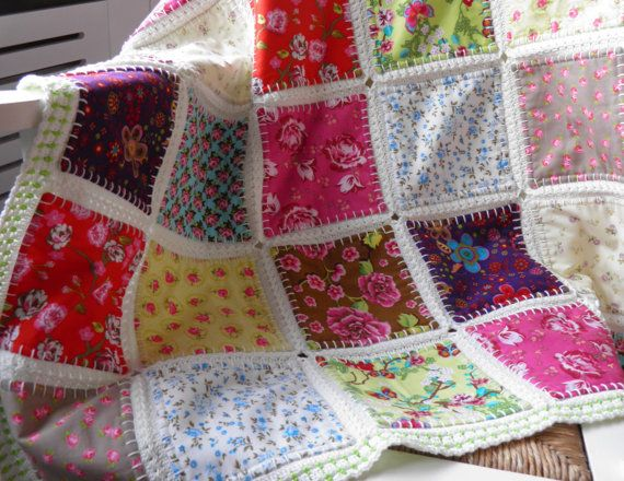 Fusion quilt Baby Blanket Baby Throw Patchwork by FlowergirlMila