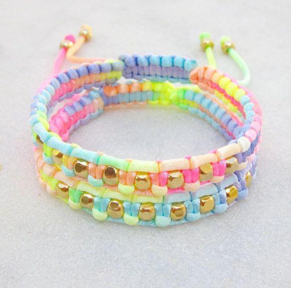Pastel friendship bracelets set rainbow bracelets by pieceofART, $36.00