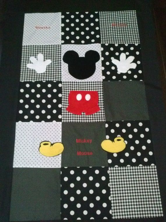 Mickey patchwork quilt in classic black, white & red.quilt measures 56x38