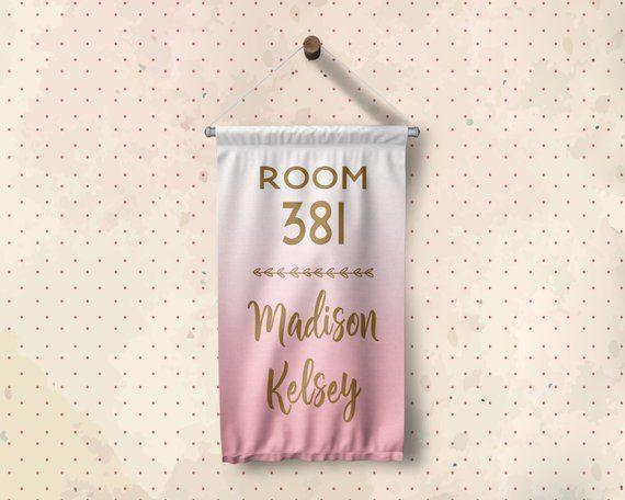 Custom Dorm Room Number Name Banner Sign - Dorm Decor