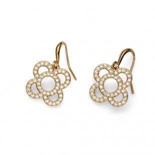 Oliver Weber Women flower flor earrings gold with Swarovski Crystals