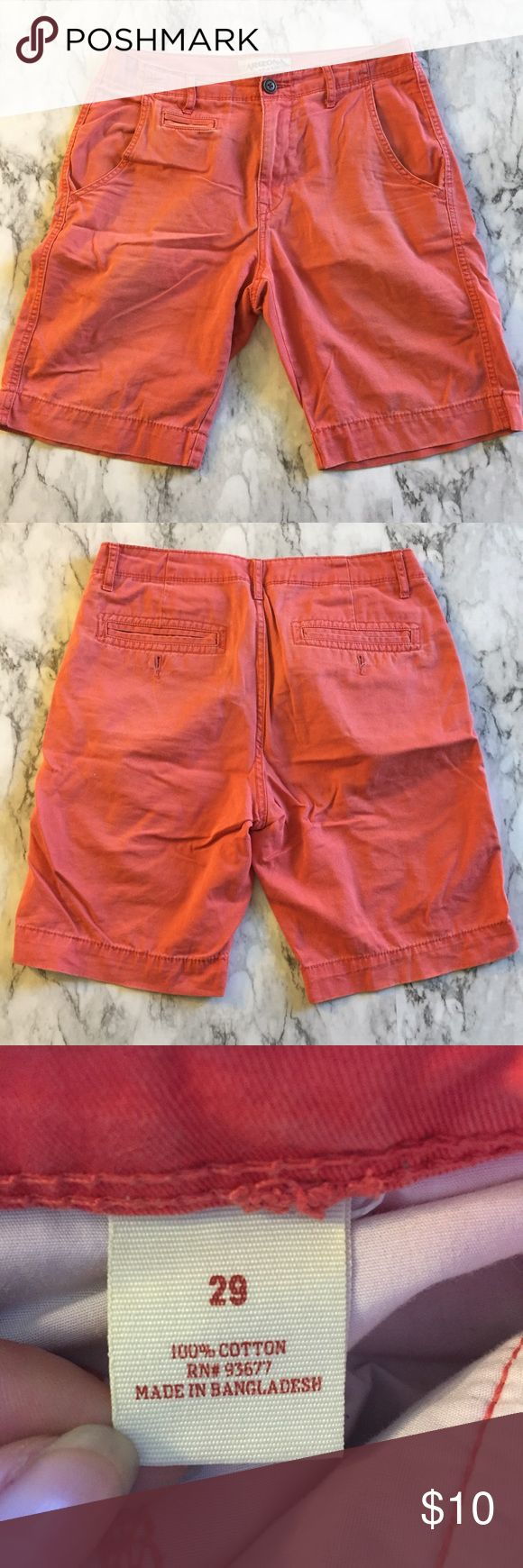 ARIZONA Mens Shorts Men's Arizona Shorts in size 29 in a salmon color. 100% Cotton. Runs true to size. Shorts have 2 front, 2 back, and one small front pocket. No holes, stains, or snags. Some light fraying on the edges of the shorts as shown in some of the pictures. No trades. Arizona Jean Company Shorts Jean Shorts