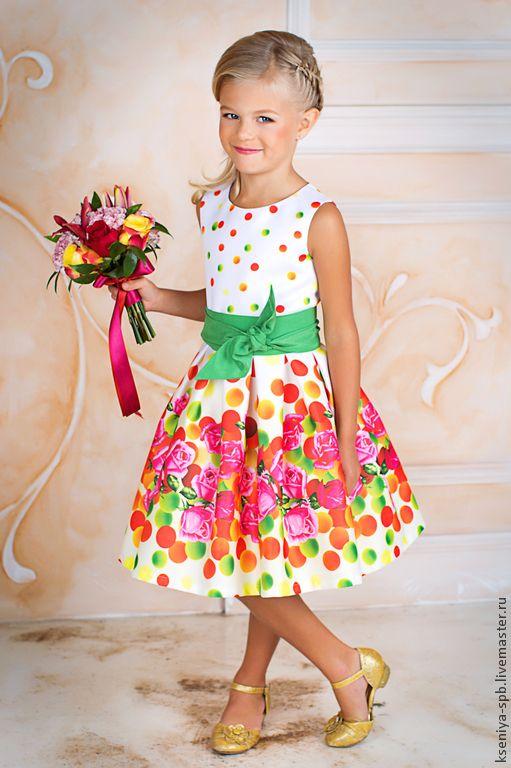 Красивое детское платье для девочки - рисунок,платье с цветами,яркое нарядное платье