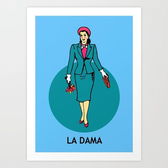 La Dama Mexican Loteria Art Print