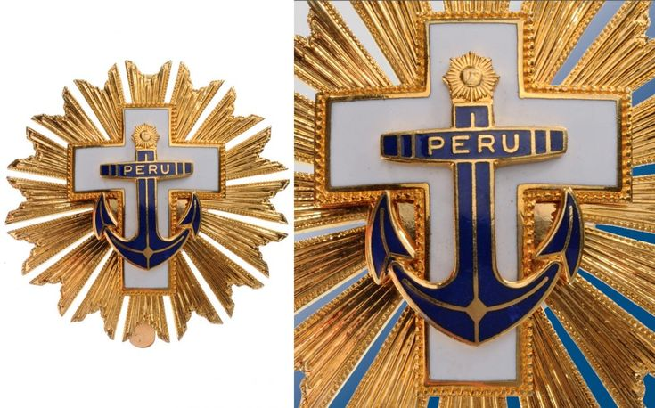 PERU - ORDER FOR NAVAL MERIT Grand Cross Star, 1st Class | Breast Star, gilt bronze, 65 mm, superimposed part enameled, reverse with wide pin